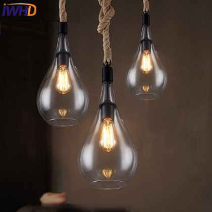 IWHD Retro Glass Pendant Lights Edison Style Loft Industrial Vintage Rope lamp Luminaire Living Room Bae cafe Hanglamp rh loft edison industrial vintage style 1 light tea glass pendant ceiling lamp hotel hallway store club cafe beside