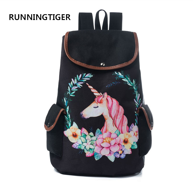 RUNNINGTIGER Women Travel Rucksack For Teenager Girls Cartoon Unicorn Printed School Backpack Casual Girl School Bags runningtiger women backpack eiffel tower printing backpack casual school bags for teenage girls travel backpack female mochila