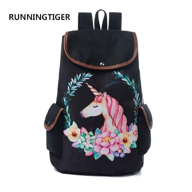 RUNNINGTIGER Women Travel Rucksack For Teenager Girls Cartoon Unicorn  Printed School Backpack Casual Girl School Bags 6801c1f7a92a1