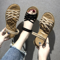 2019 summer new fashion simple solid color sandals women suede comfortable wild casual sandals