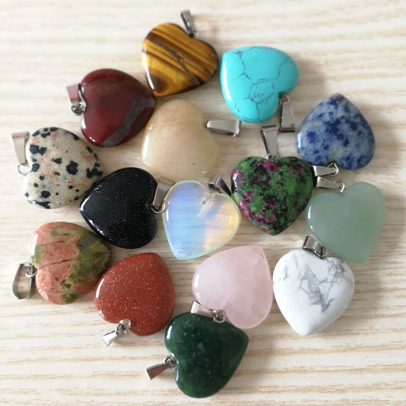 Wholesale Fashion Assorted Mixed Natural Stone Heart Pendant 20mm Charms Fit Necklace Making,12pcs/lot