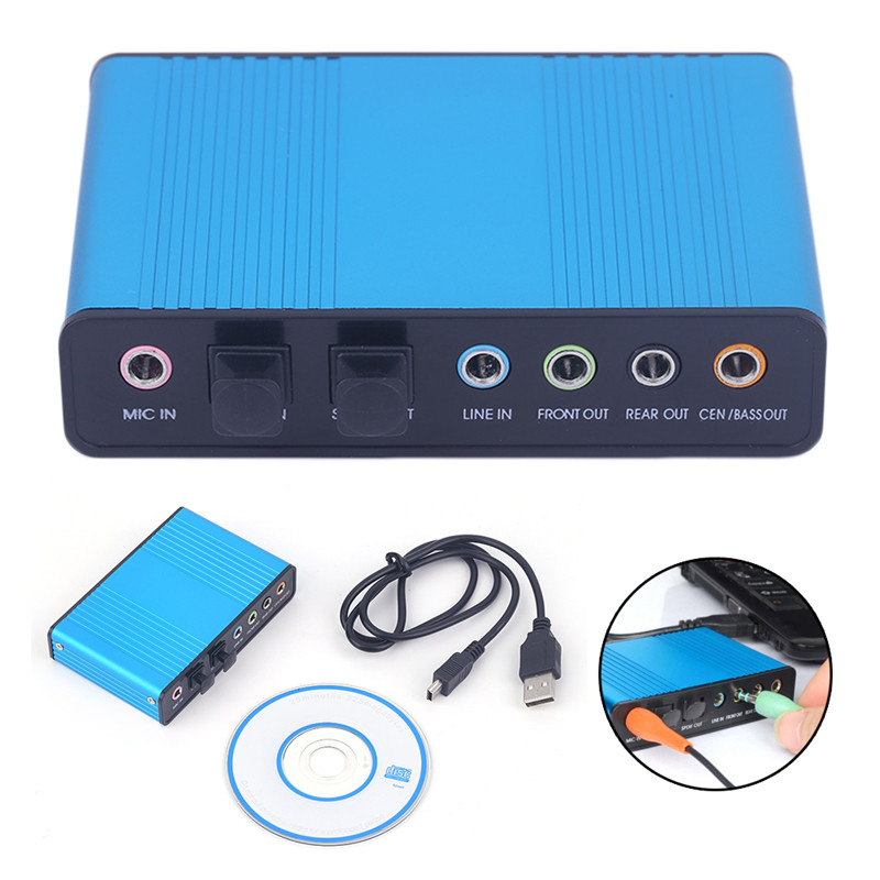 External Sound Card USB 6 Channels 5.1/7.1 Surround Adapter Audio USB 2.0 Optical Sound Card Adapter For PC Laptop Desktop