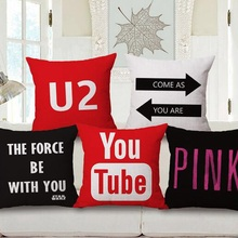 Linen Cotton Letter YouTube Logo U2 Decoration them cushion pillowcases sofa home decor almofadas force