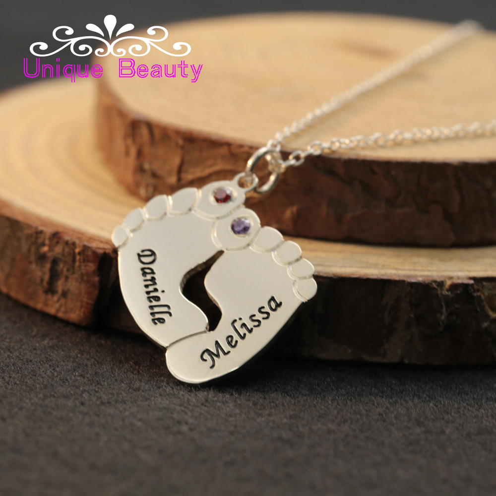 925 Sterling Silver Baby Feet Necklace Birthstone Name Customized Necklace Engraved Date ...