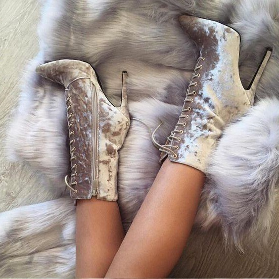 Sexy Silver Grey Velvet Short Boots Women Pointed Toe Ankle Boots Lace-up Thin High-heeled Gladiator Sandal Boot Side Zipper цена