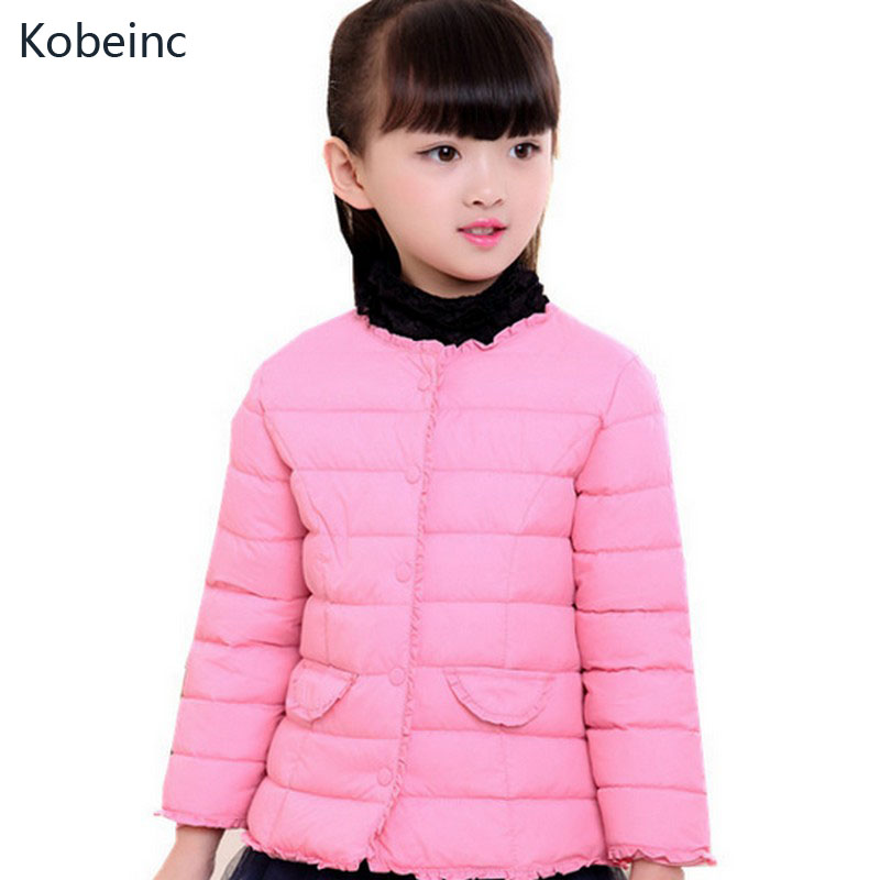 Kobeinc Girls Jackets For Cold Winter Kids Solid Outerwear & Coats Fashion Cute Children tops 2017 New Baby Casual Clothes