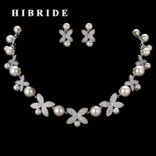 HIBRIDE Butterfly Shape Pearl Necklace Earring Sets Micro CZ Stone Pave Women Jewelry Set For Bridal Accessories N-204