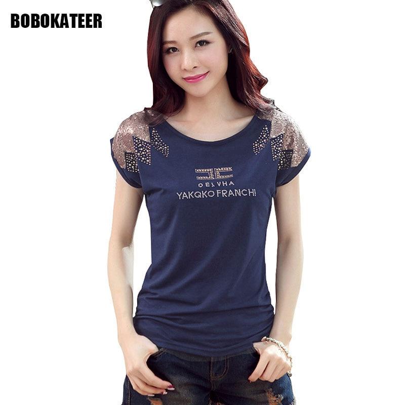 BOBOKATEER tee shirt femme sequins t shirt կանանց շապիկ - Կանացի հագուստ