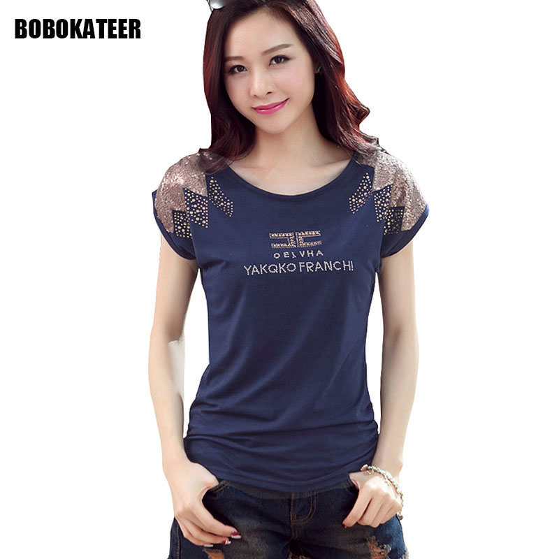 BOBOKATEER tee shirt femme sequins t shirt women t-shirt cotton camisetas mujer verano 2018 plus size tshirt women summer tops