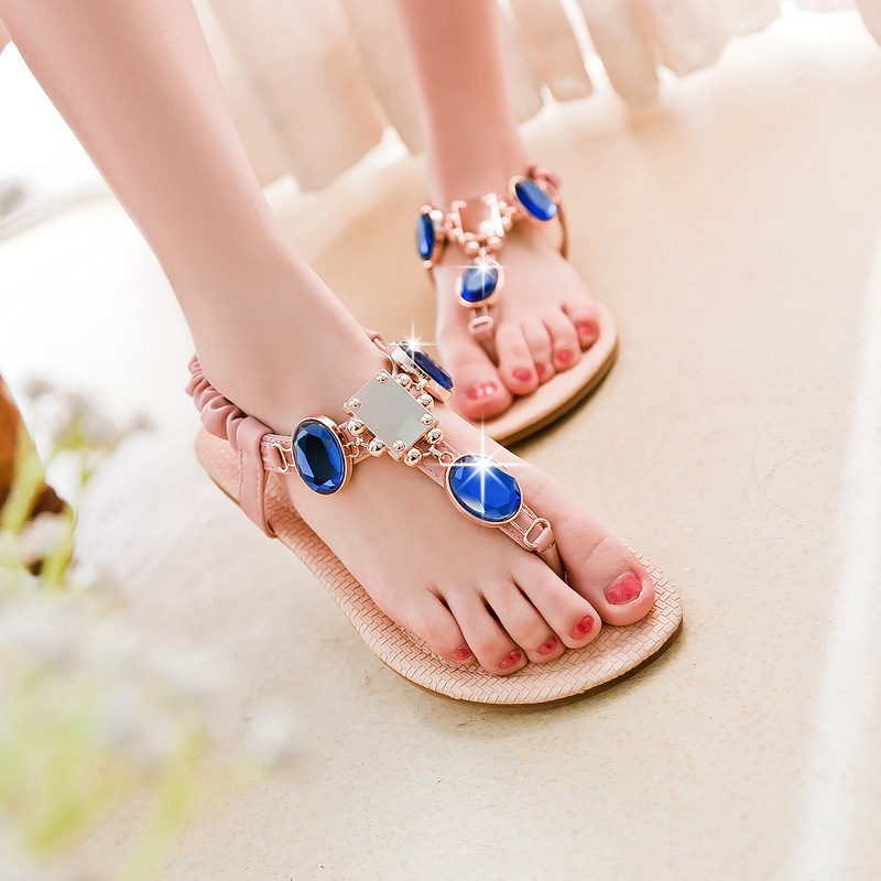 2016 New Summer Sweet Lady Famous Fashion Sapphire Flat Thong Sandals font b Women s b