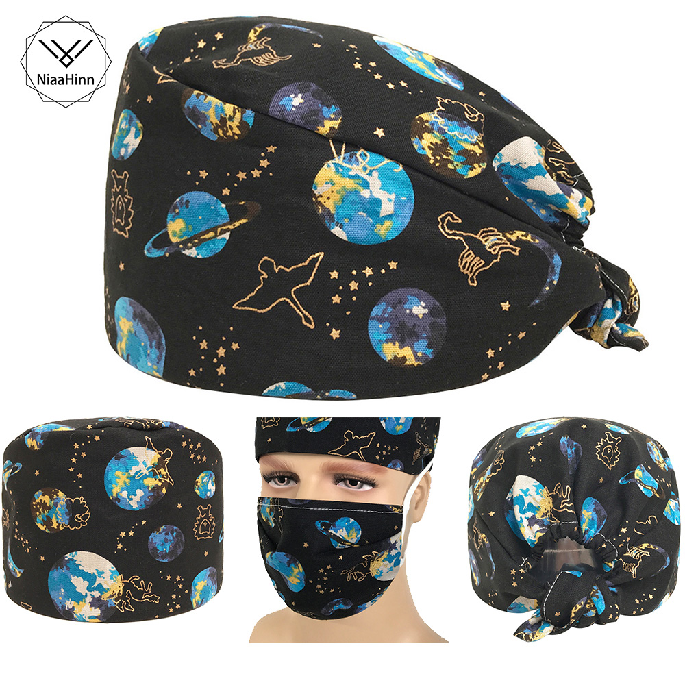 Hospital Nursing Scrubs Cap&mask Mysterious Space Print Dental Clinic Pharmacy Medical Surgical Cap Adjustable Surgical Hat