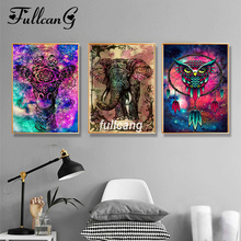 FULLCANG Full Square Diamond Embroidery Elephant And Eagle Triptych Diy 5D Painting Cross Stitch Mosaic Animals D926