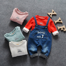 children letter Sweater Belt pantssuit set autumn winter girls and boy soft clothing warm velvet Hoodies Overalls set