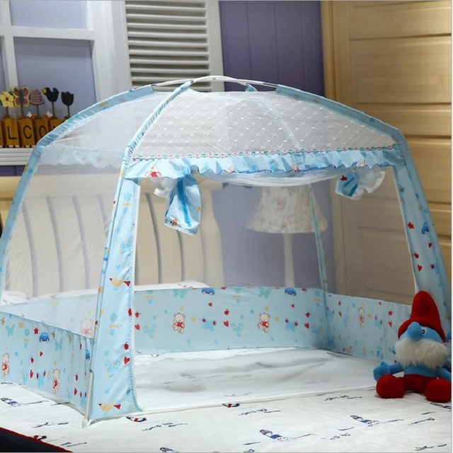 Summer Floding Baby Bed Canopy Mosquito Netting Mesh Cover Portable Infant  Crib Mosquito Net Travel Zipper