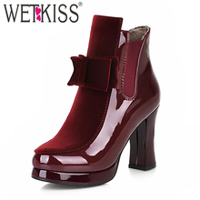WETKISS High Heels Ankle Boots Red Round Toe Butterfly Footwear Patent PU Female Boot Fashion Platform Shoes Woman 2018 Winter