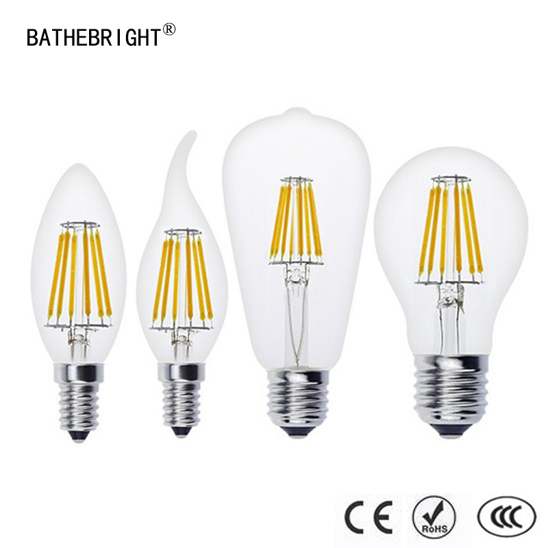 4Pcs LED Candle Bulb E14 Vintage C35 Filament Light Bulb E27 LED Edison Globe Lamp 220V Glass 4W 8W 12W 16W Replace Incandescent 4pcs candle e14 edison led filament bulb c35 vintage spiral lamp warm 2200k soft flexible filament cob led bulb gold tint