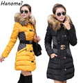Slim Long Winter Jacket Women Fur Collar Hooded Belted Down Parka 2017 Thick Abrigos Mujer Cotton Padded Jaqueta Feminina C421