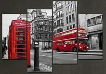Framed 4 Panels/Set European street HD Canvas Print Painting Artwork Gift Wall Art P painting/XJ-12Y-117