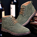 Men Martin Boots Suede Genuine Leather Male Boots High Top Brockden Carved Tooling Shoes Plus Velvet