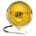 Chrome Black Motorcycle 5.75 Inch Hight Low Beam Retro Yellow Lens 12V H4 Headlight For Harley Bobber Chopper