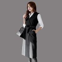 2016 Femmes Printemps Nouvelle-Coréen de Haute Qualité Gilet De Mode Longues pour Femmes Tricoté Gilets Revers Double Breased Plus La Taille Gilet JA334