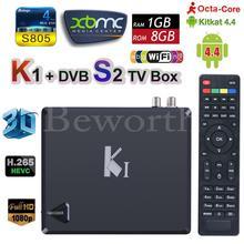 K1-S2 Android 4.4 Smart TV Box OTT DVB-S2 Receptor de TV Por Satélite K1 KI S2 DVB S2 Amlogic S805 Quad Core 1G 8G Wifi CCCam Newcamd