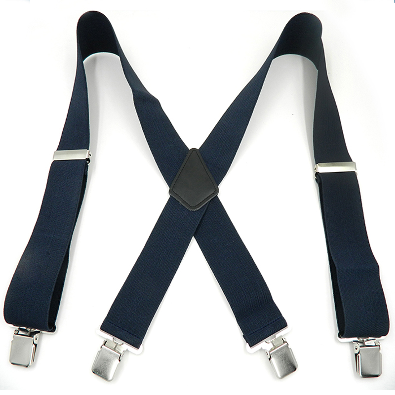 2017 New Man's Braces 4 clips Leather Suspenders Strong 4clasps Casual Suspensorios Trousers Strap 5*120cm Gift For Dad