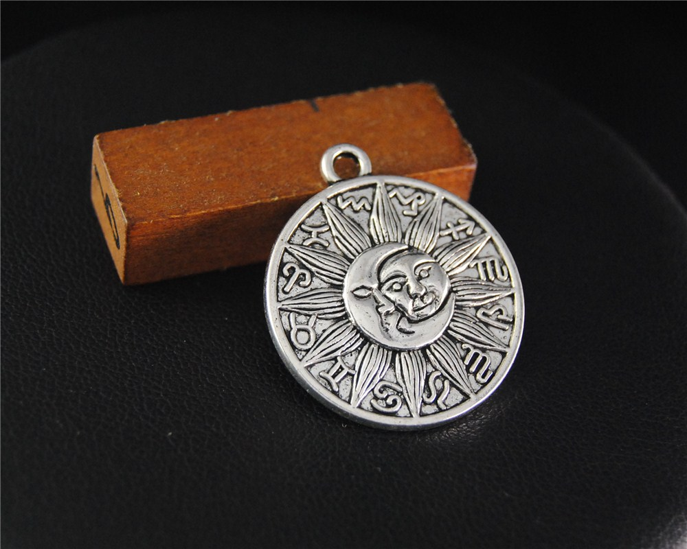 5Pcs Antique Sliver Astrology Medallion Celestial Charms Moon And Sun Handmade Charms Pe ...