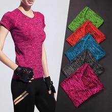 Newest Women Quick Dry Short Sleeve Sport Jerseys Fitness T Shirt Breathable  Aerobics Jogging Tees Top
