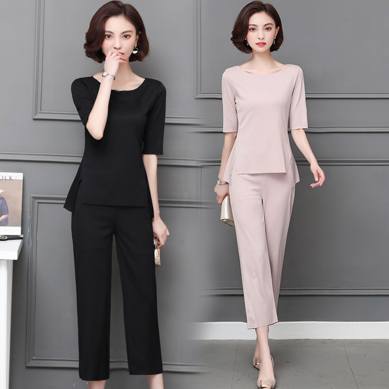 M-5xl Summer Two Piece Sets Women Plus Size Half Sleeve Tops And Pants Suits Pink Black Casual Office Elegant Women's Sets 2019 43
