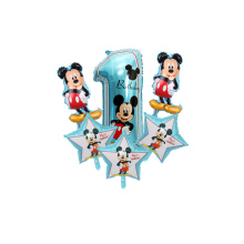 6pcs Mickey ball New cartoon style aluminum balloon baby 1 birthday party decoration decorative inflatable toys self-sealing