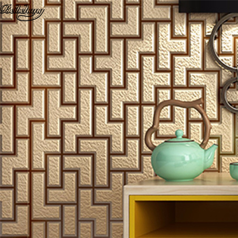 beibehang 3D Stereo New Chinese Brick Striped Bedroom Nonwovens Wallpaper Living Room TV Background Wallpaper Mural