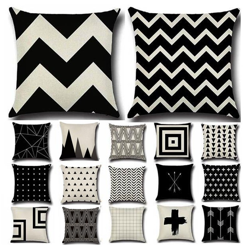 Black White Geometric Cotton Linen Cushion Cover Classic Art Throw Pillow Home Decor Sofa Decorative Pillowcase Pillowcover40198