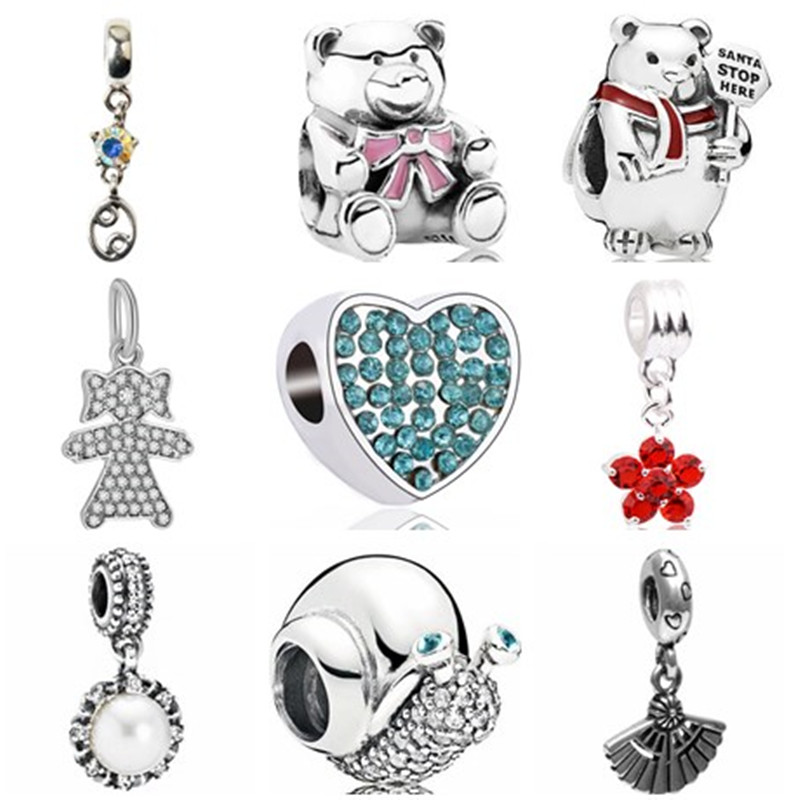 Charms-Beads Bear-Crown Jewelry Crystal Pearl Heart-Fish Women Original Pandora Fit
