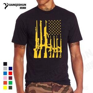YUANQISHUN Boutique T-shirt 2017 nowego mężczyzna flaga amerykańska z karabiny maszynowe koszulki z krótkim rękawem lato na co dzień Tshirt gorąca broni palnej topy Tee