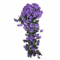 New Violet artificial flower bouquet rattan vine leave project soft-mounted wall hanging flower pipeline decorative flower