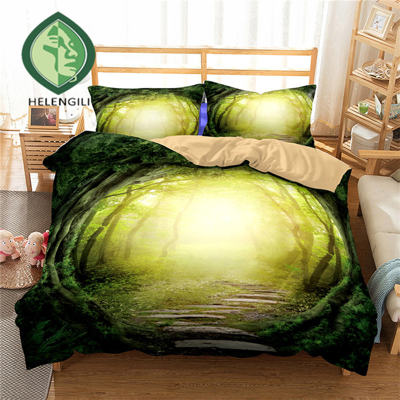 HELENGILI 3D Bedding Set Forest dreamland Print Duvet cover set lifelike bedclothes with pillowcase bed set home Textiles #2-03