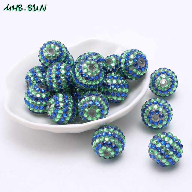 SUN Blue green resin ball beads loose rhinestone resin beads 50pcs for chunky  necklace round beads 18 20 22mm new arrival b984145c660f