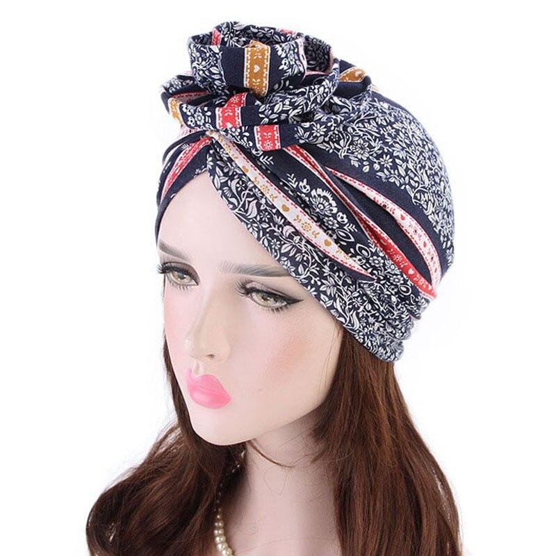 New Cotton Flower Shape Turban Cap Bohemian Style Hat For Women Ethnic Print Headwear Female Hair Accessories Bandanas Caps in Women 39 s Hair Accessories from Apparel Accessories