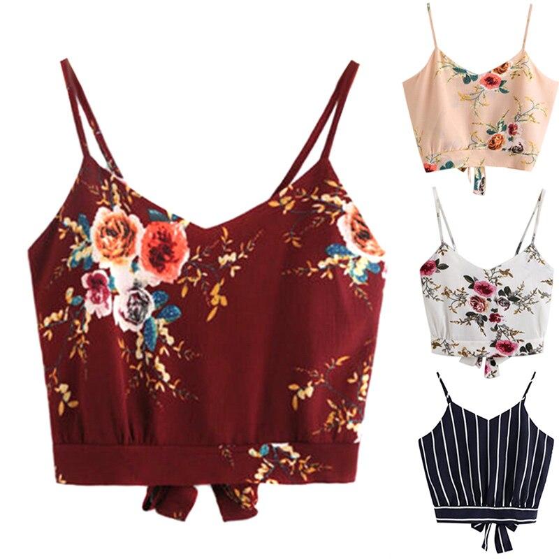 Sexy Women Summer Sleeveless Sling Vest Flower Printed Stripe V-neck Bra Tops FS99