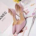 2016 Mais Novo Estilo de Mulheres De Luxo Da Marca Bombas de Couro Branco Pu Cinta Fivela Do Dedo Do Pé apontado Sapatos de Salto Alto Feminino Verão D52 35