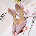 2016 Newest Style Luxury Brand Women Pumps White Pu Leather Pointed Toe High Heels Shoes Female Buckle Strap Summer D52 35