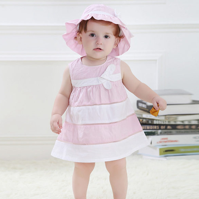 Baby Girls Dress,Summer Cotton Thin Dresses,Fashion Brand Kids Dress,Children Hat + Dress + Shorts (18moth-3 yrs)