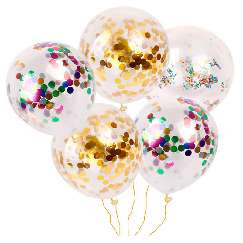 12inch Latex Clear Ballon 5pcs Birthday Party Decoration Kids Party Favors Inflatable Confetti Balloon Ball in Ballons Accessories from Home Garden