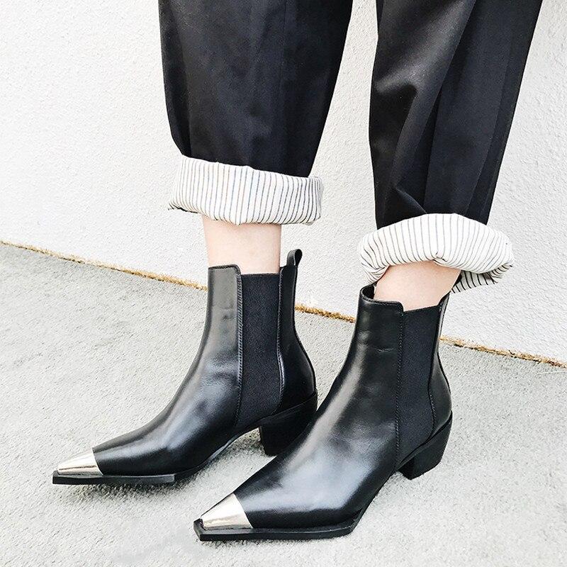 Punta white Caballero Bota De Moda Botas Defilè Zapatos Tacón Cuadrado Luchfive Mujer Black Metal Cuero Genuino Tobillo aqzSfUw