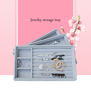 TOP Level Velvet Jewelry Display Tray Bracelet Holder Necklace Ring Earring Box Jade Pendant Stand Jewelry Storage Organizer velvet with glass ring earrings necklace bracelets jewelry display organizer box tray holder storage carrying cases tools