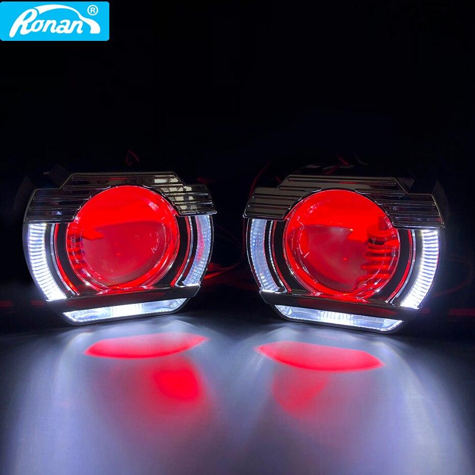 RONAN Mini 2.5 ''HID Bixenon projecteur lentille mise à niveau 8.1 lentilles dans phare H1 H4 H7 9006 lampe frontale LED DRL ange Halo Devil Eyes