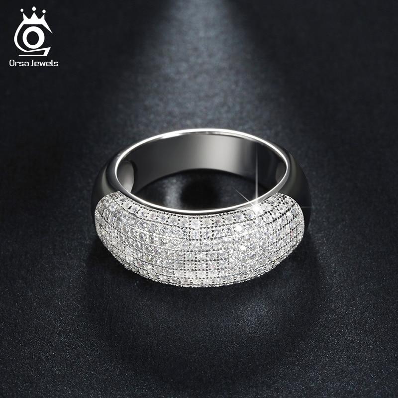 ORSA ΚΟΣΜΗΜΑΤΑ Ασημένια Ζώνη Γάμου Engagement CZ Δαχτυλίδι Πλακάκια 168 τεμαχίων AAA Αυστριακή κρυστάλλινα κοσμήματα πολυτελείας για γυναίκες OR122