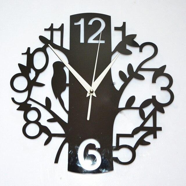 S Acryl Dekoration Wanduhr Digitale Uhr Studie Schlafzimmer Uhr Vögel Baum  Schwarz Vogel