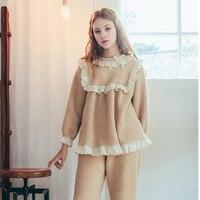 CEARPION Hot Sale Winter Warm Women Pajamas Set Fleece Three Quater Sleeve 2PCS Shirt&Pant Sleepwear Sweet Casual Home Clothes